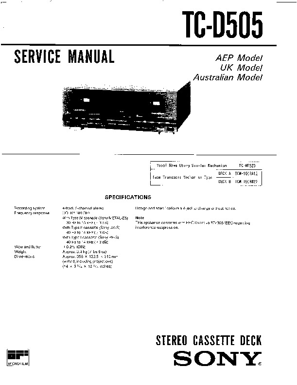 Sony CDP-M42, LBT-D505, LBT-D505CD, LBT-D705, LBT-D705CD