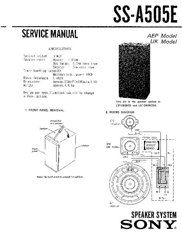 Sony LBT-D505CD, LBT-D505CDM, SS-A505E Service Manual