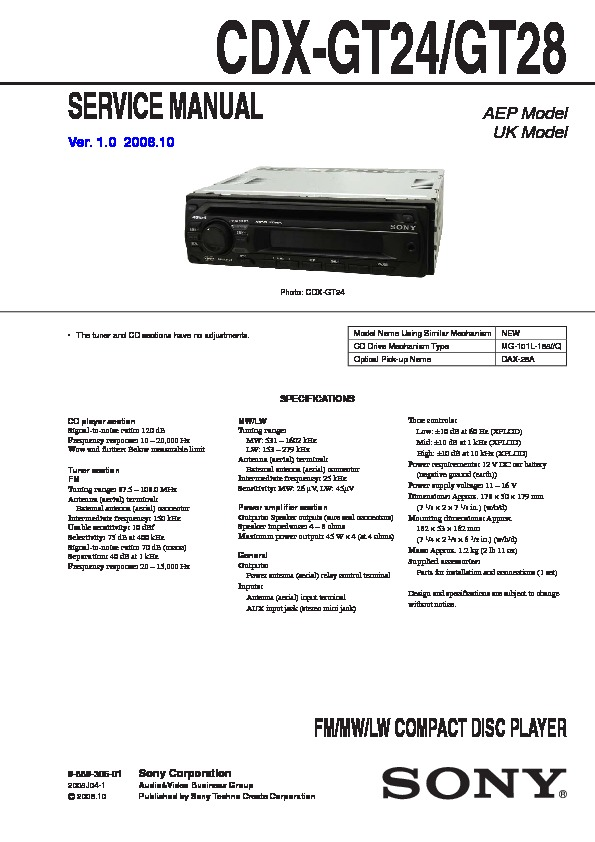cd player wiring diagram peugeot 205 sony cdx-gt24, cdx-gt28 service manual - free download