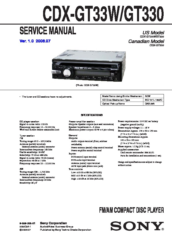 sony cdxgt330 cdxgt33w service manual  free download