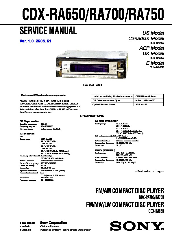Sony CDX RA650 CDX RA700 CDX RA750 Service Manual FREE DOWNLOAD
