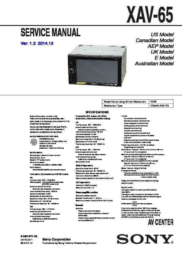 Tft Lcd Color Monitor Wiring Diagram Sony Xav 65 Service Manual Free Download