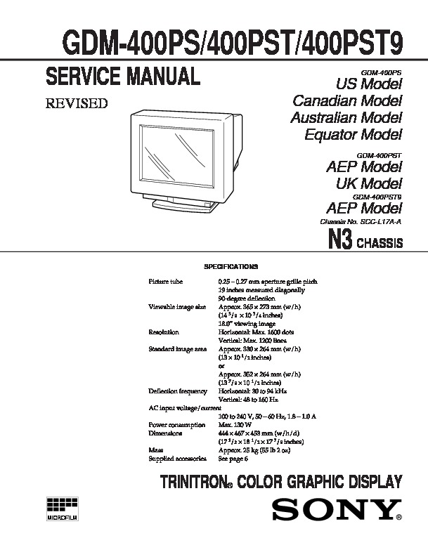 Sony GDM-400PS, GDM-400PST, GDM-400PST9 Service Manual