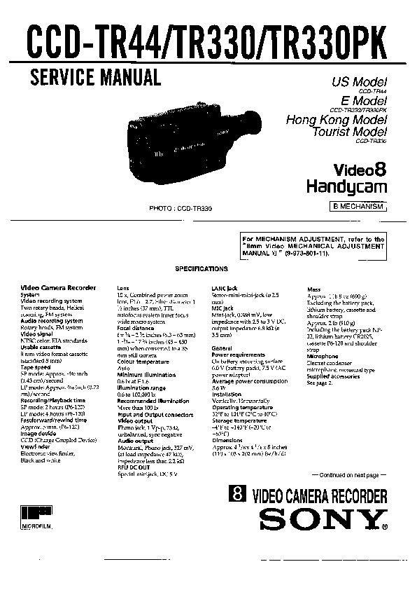 Sony CCD-TR330, CCD-TR330PK, CCD-TR44 Service Manual