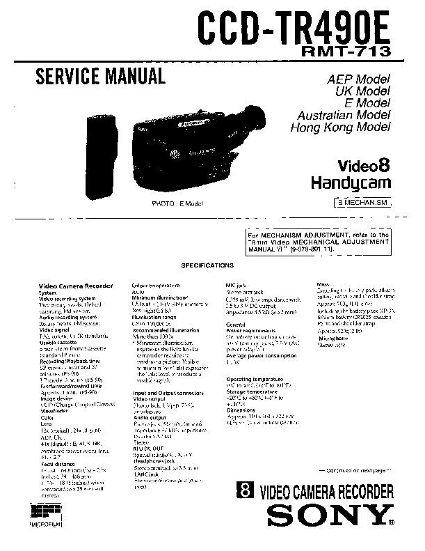 Sony CCD-TR440, CCD-TR440PK, CCD-TR490, CCD-TR490PK, CCD