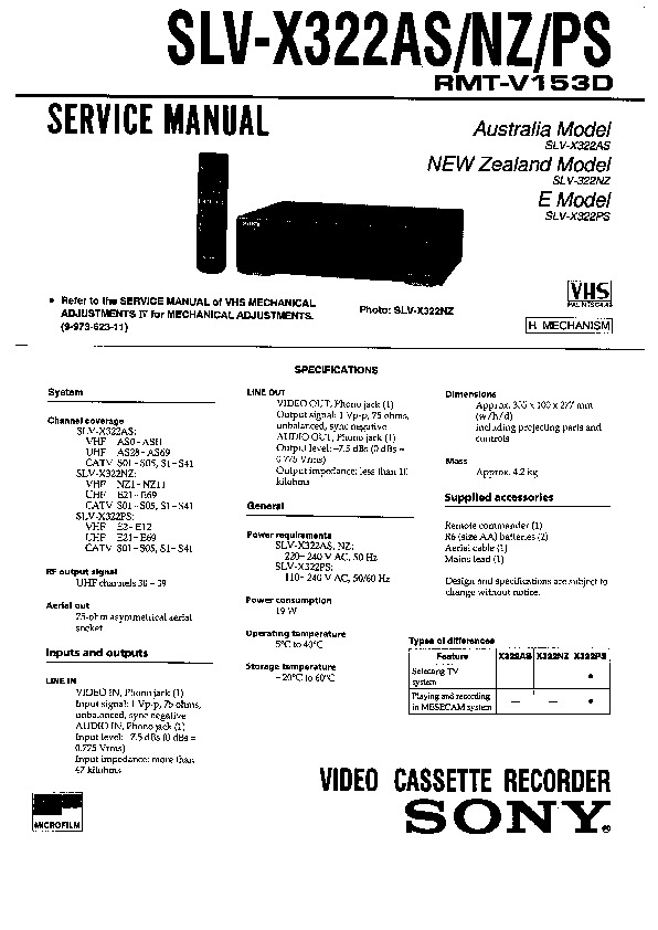 Sony SLV-X322AS, SLV-X322NZ, SLV-X322PS Service Manual