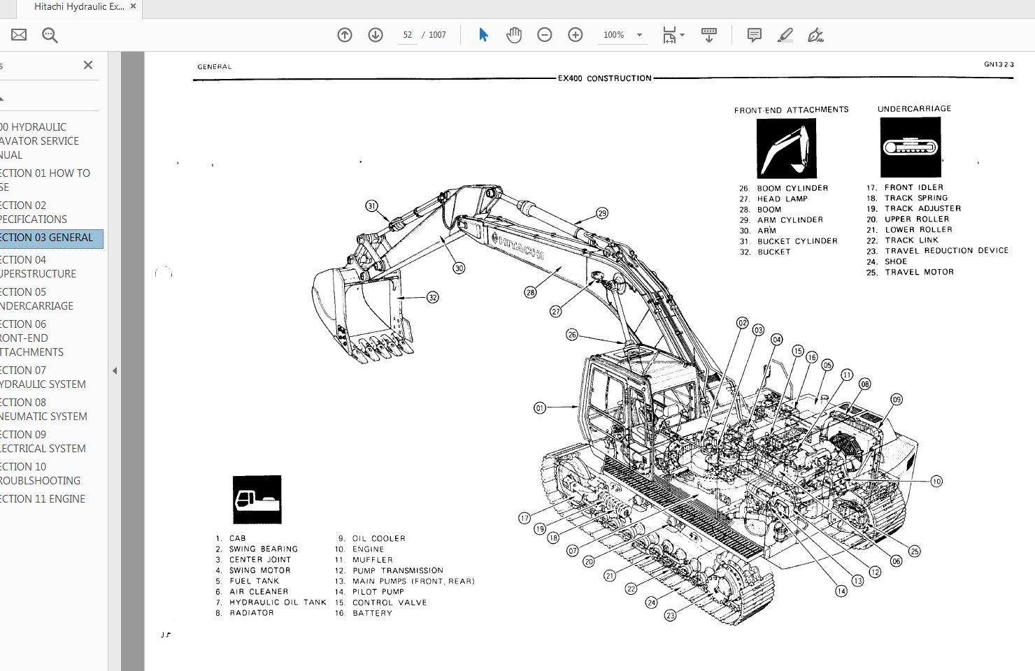 Hitachi Hydraulic Excavator EX400-1 Service Manual