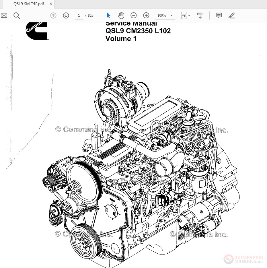 Cummins QSL9 CM2350 L102 Volume1 Engine Service Manual