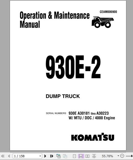 Komatsu DUMP TRUCK 930E-2 A30181 thru A30223 Operator