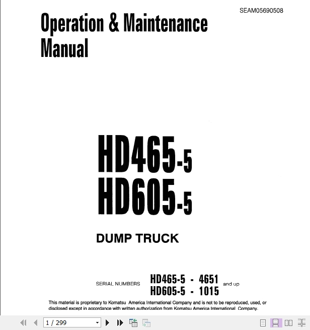 Komatsu Dump Truck HD465_605 Operator & Maintenance Manual