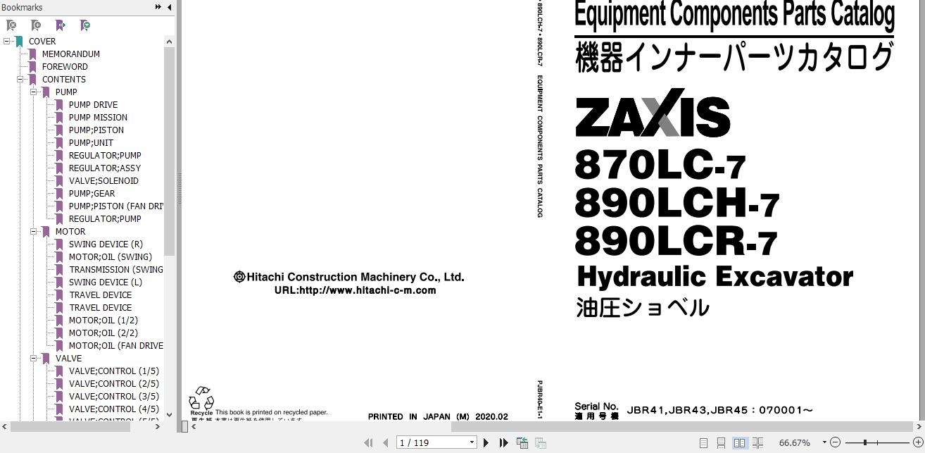 Hitachi Hydraulic Excavator ZX890-7 Full Manuals_EN