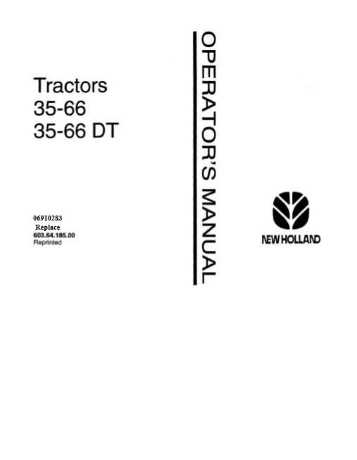 New Holland 35-66 35-66DT Tractors Operator's Manual
