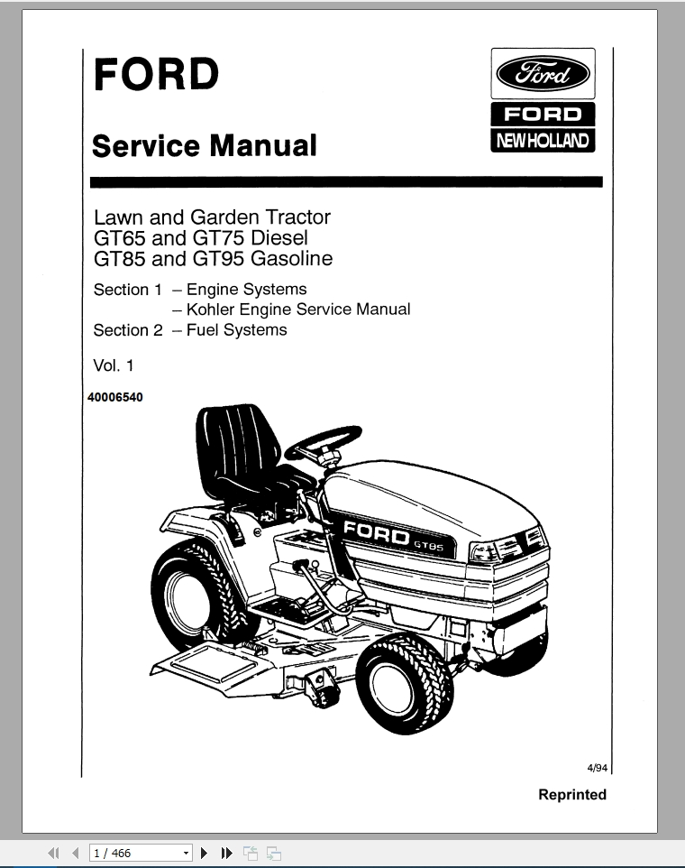 New Holland Ford GT65, GT75, GT85, GT95 Service Manual