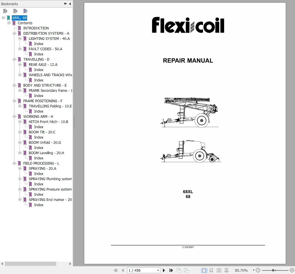 New Holland Tractor 68,68XL Field Sprayer Repair Manual