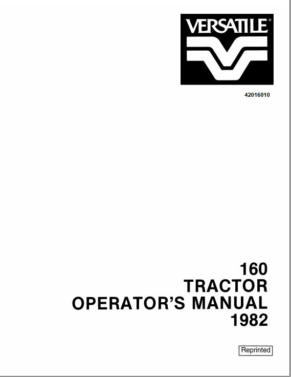 New Holland Versatile 160 Tractor Operator's Manual