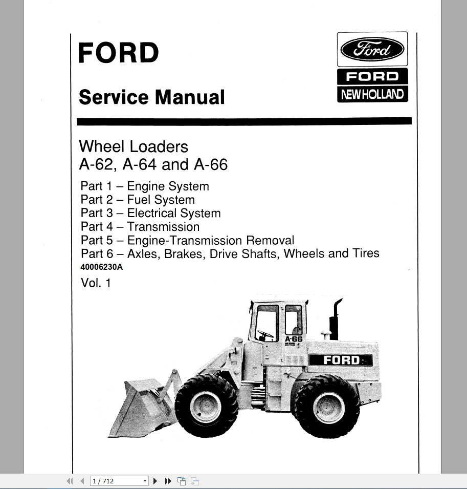 New Holland Wheel Loader A62, A64, A66 Service Manual