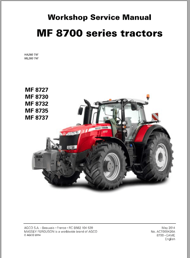 Massey Ferguson Tractor MF 8700 Series Workshop Service