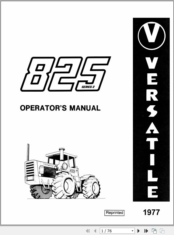 New Holland Versatile 825 Tractor Operator's Manual