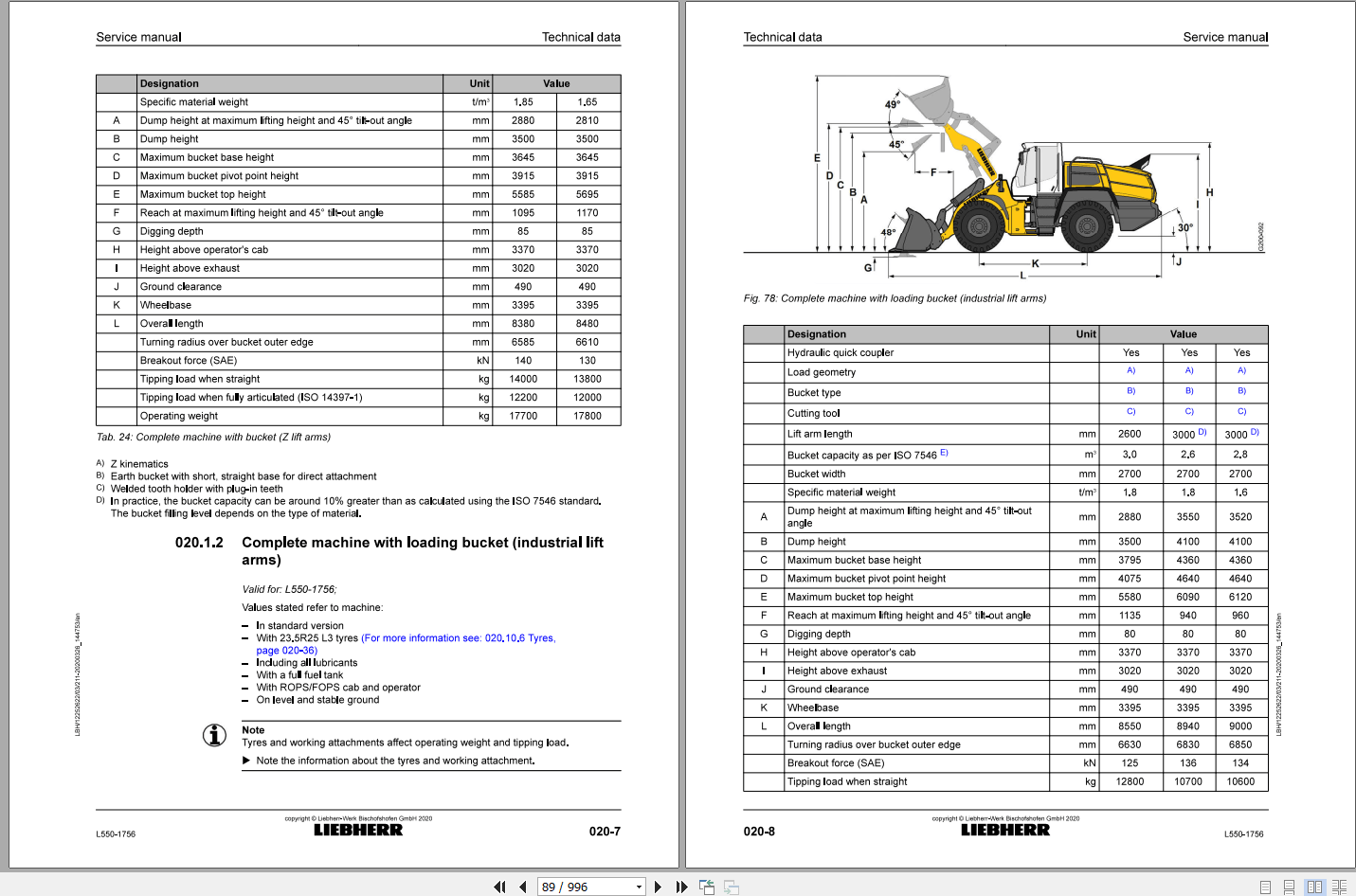 Liebherr Wheel Loader L550-1756 Service Manual_EN