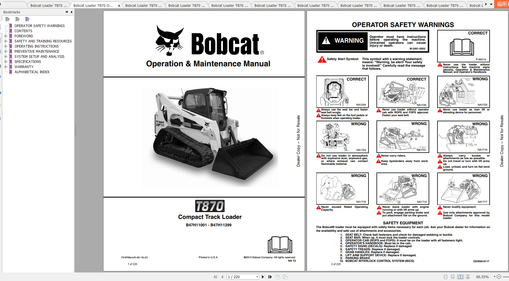 Bobcat Compact Track Loader T870 Operating & Maintenance