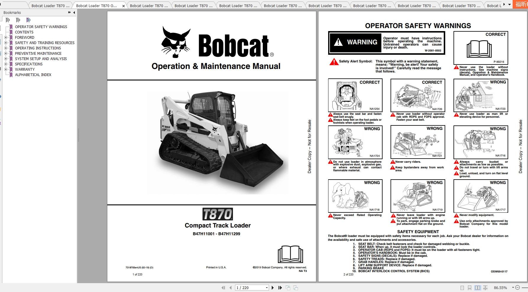 Bobcat Compact Track Loader T870 Operating & Maintenance