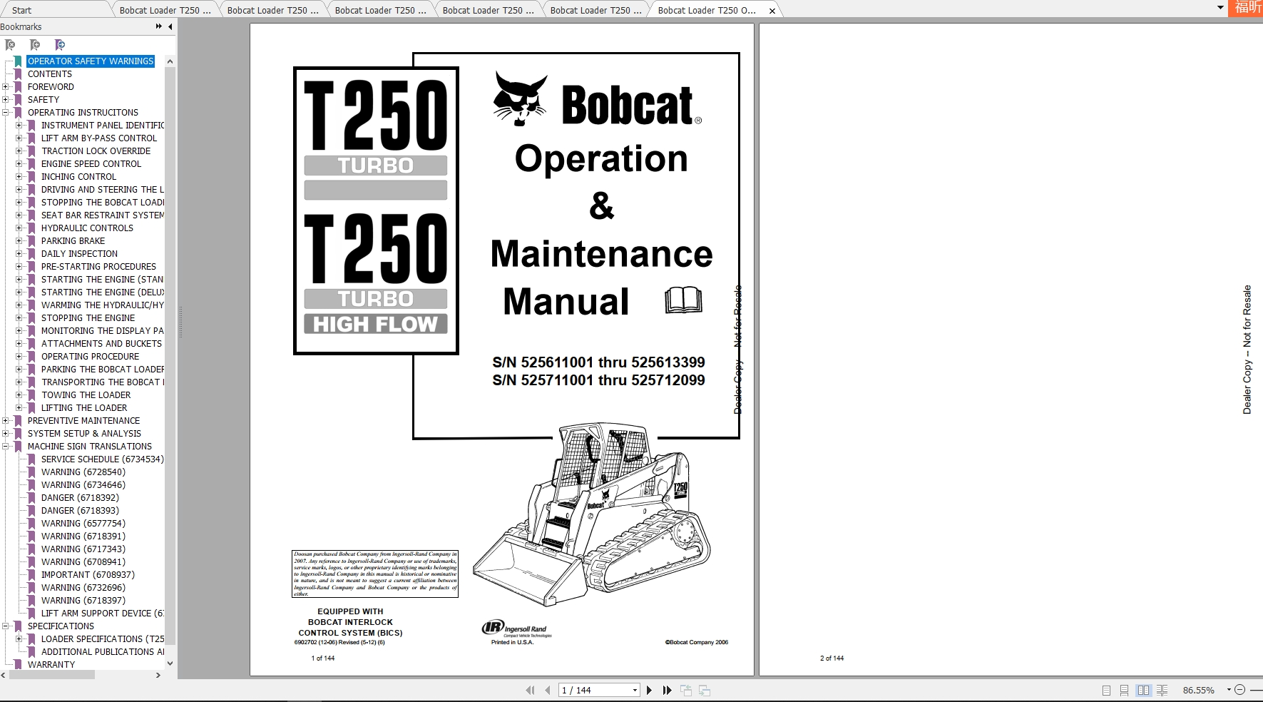 Bobcat Loader Backhoe BL275 (B Series) Operation