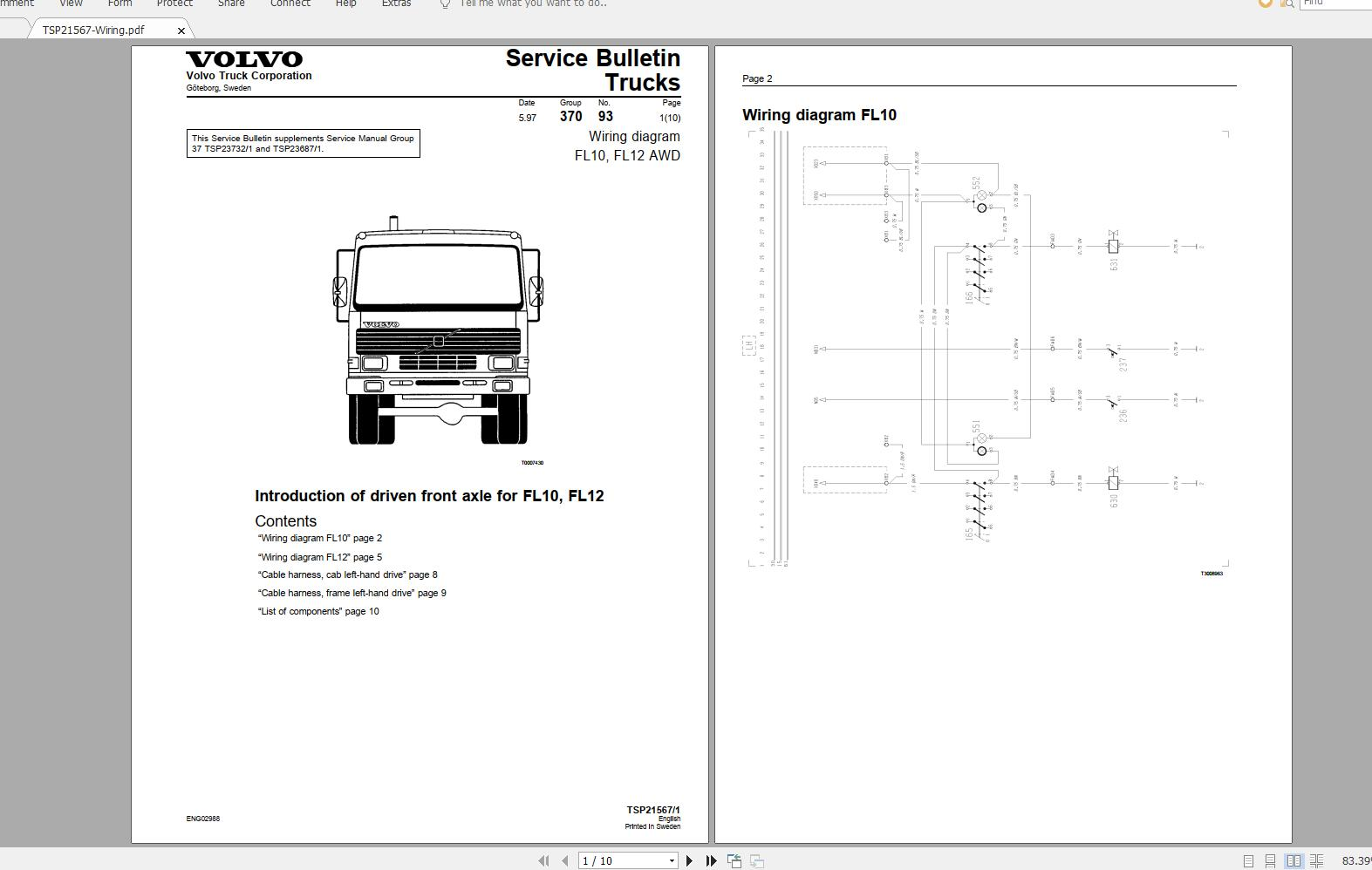 Volvo FL12 Trucks Service Manual Buses & Wiring Diagrams