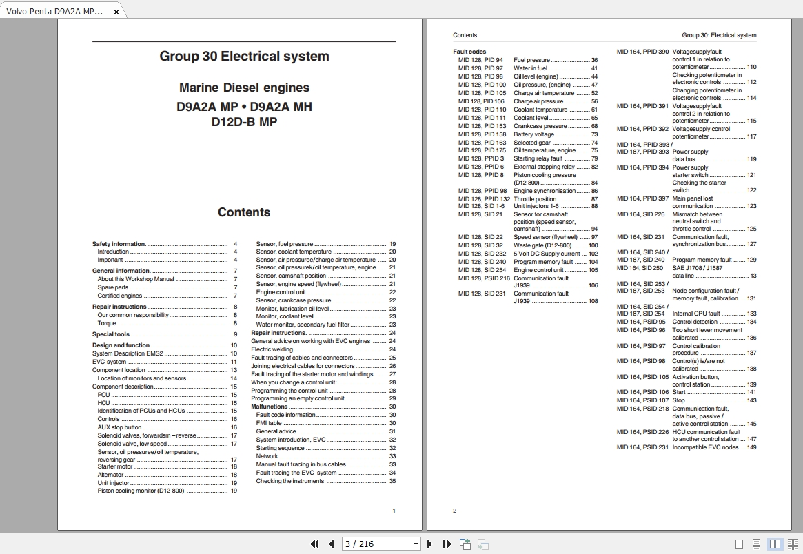 Volvo Penta D9A2A Electrical System Workshop Manual