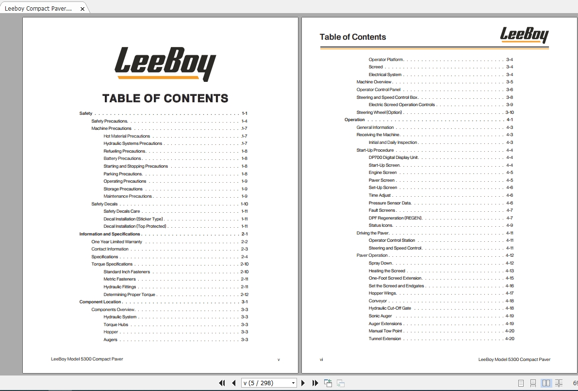 Leeboy Compact Paver 5300 Operations, Service And Parts