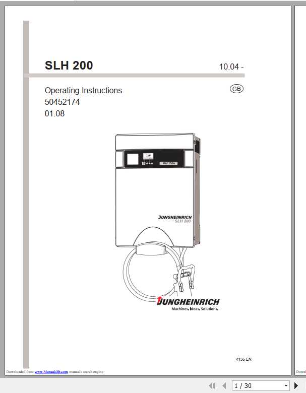 Jungheinrich Forklift SLH 200 Operating Instructions