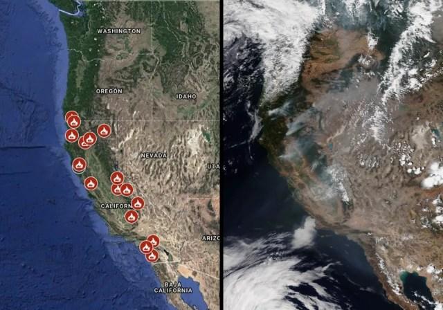 Incendios forestales activos, e imagen satelital con los penachos de humo