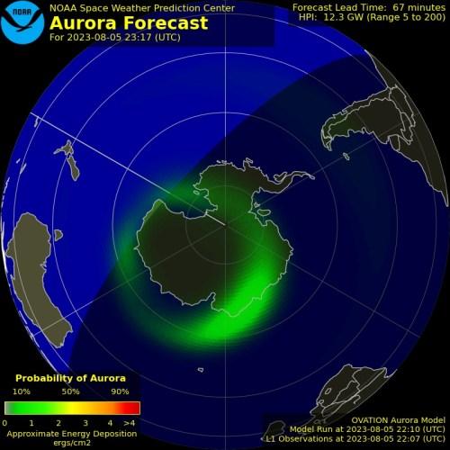 Aurora Forecast - South Pole - OVATION