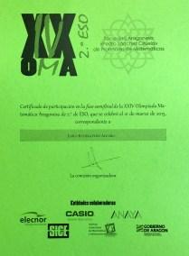Diploma acreditativo de la participación