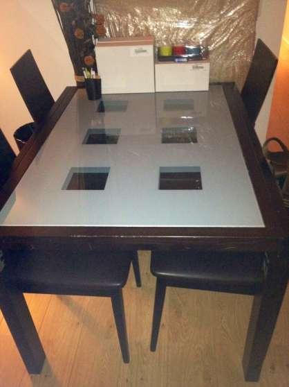 table verre et bois fly chaises