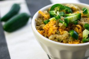 vegan jalapeno mac and cheese recipe in white bowl