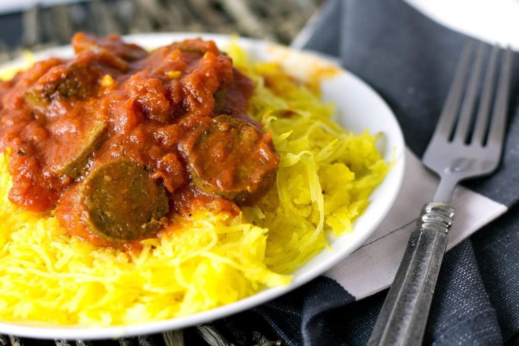 plate of baked spaghetti squash