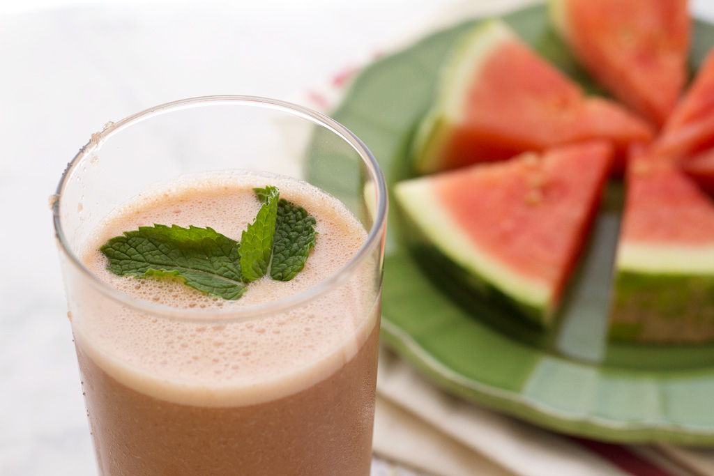 poured watermelon mint smoothie