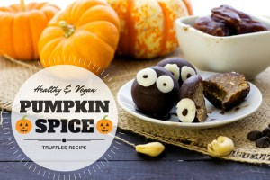 healthy vegan pumpkin spice truffles for halloween