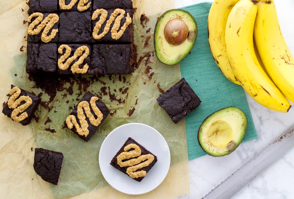 Overhead shot of vegan avocado brownie recipe