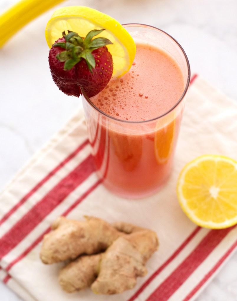 poured strawberry ginger lemonade