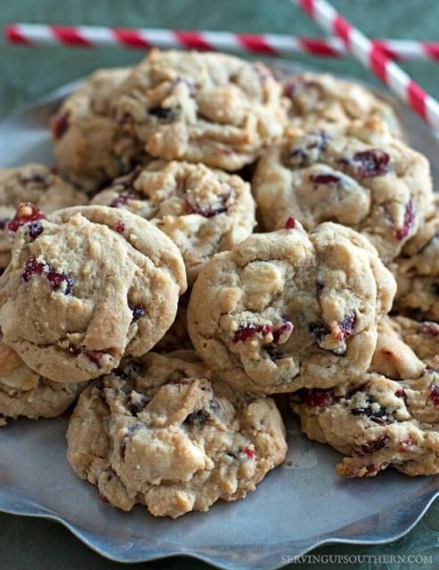 White Chocolate Cranberry Cookies on a pretty platter.