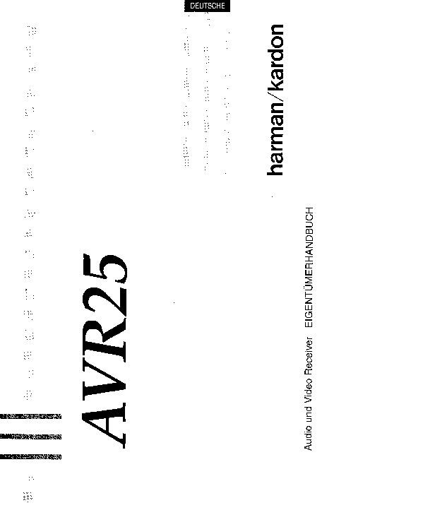 Harman Kardon AVR 25 (SERV.MAN10) User Guide / Operation