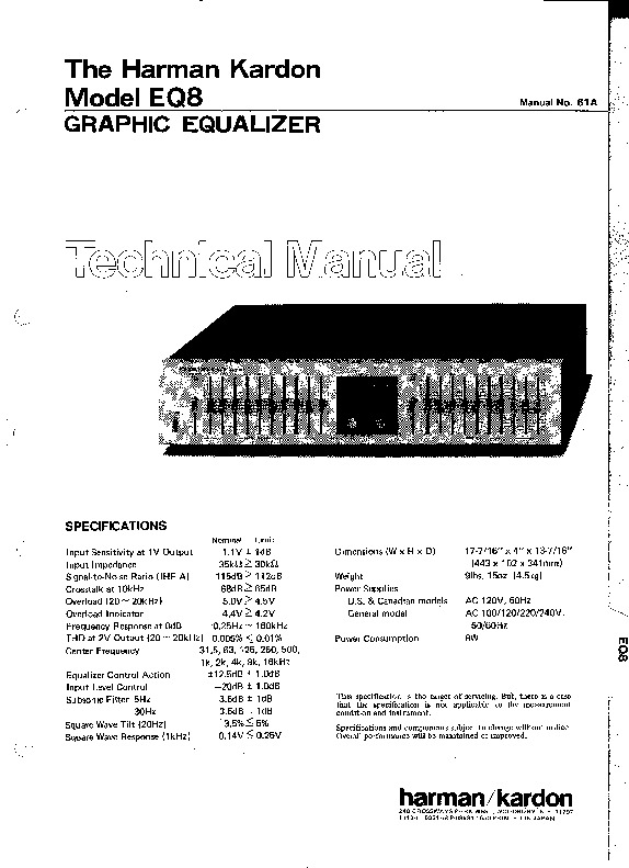 Harman Kardon EQ 8 service manual — Page 6