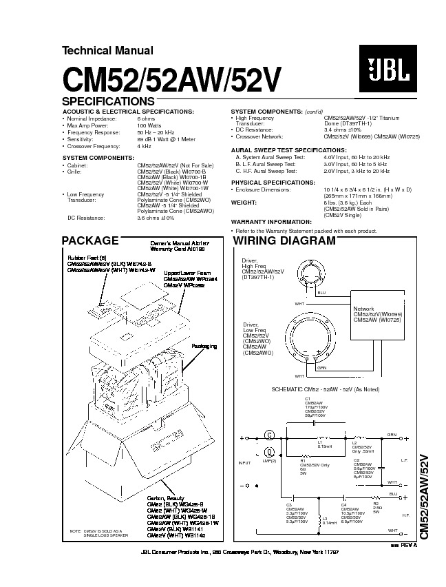 JBL CM 52 Service Manual — View online or Download repair
