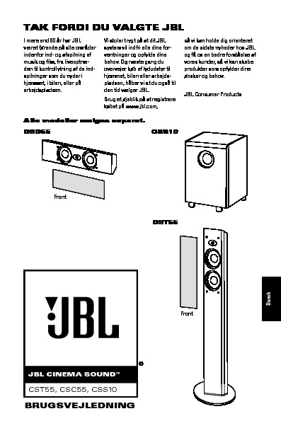 JBL CSC55 User Guide / Operation Manual — View online or