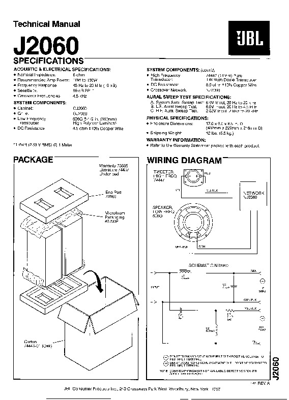 JBL J 2060 Service Manual — View online or Download repair