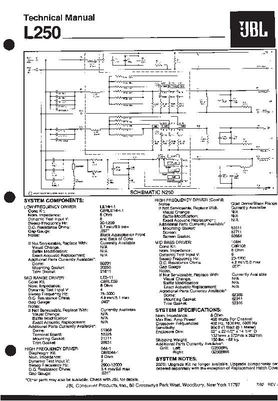 JBL L 250 Service Manual — View online or Download repair
