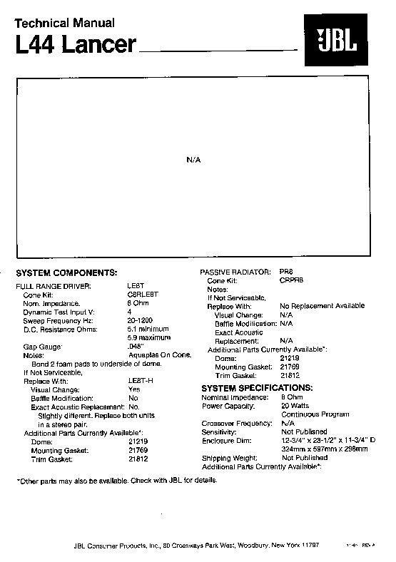 JBL L 55 LANCER Service Manual — View online or Download