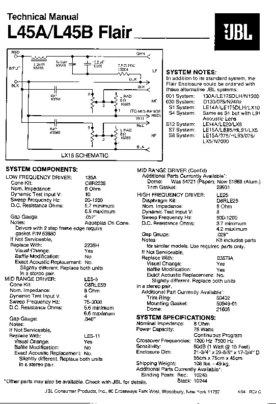 JBL L 45A FLAIR Service Manual — View online or Download