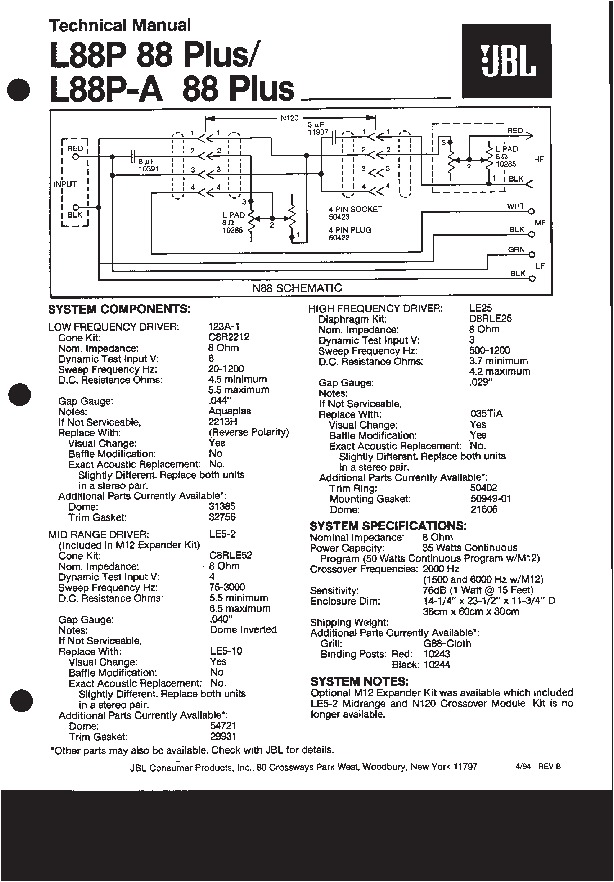 JBL L 88 PLUS Service Manual — View online or Download